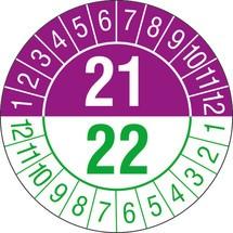 Prüfplaketten 2021/2022, nach Monaten, 2-stellige Jahreszahl