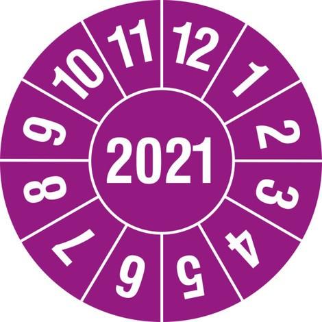 Prüfplaketten 2021, nach Monaten, 4-stellige Jahreszahl