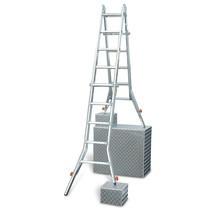 Przegubowa drabina teleskopowa KRAUSE® z4 zintegrowanymi przedłużeniami podłużnic