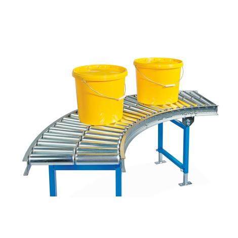 Przenośnik rolkowy do lekkich ładunków, rolki z rurki stalowej, krzywka 45°