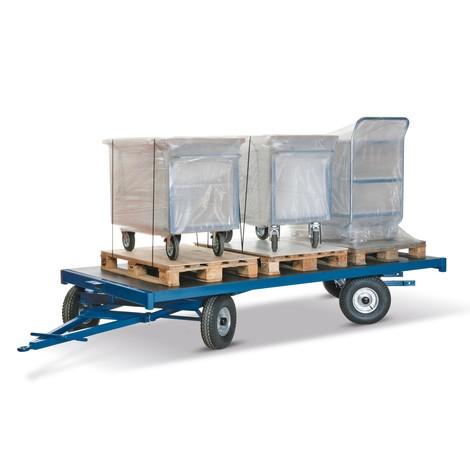 Przyczepa przemysłowa, 2-osiowy układ kierowniczy, powierzchnia ładunkowa 3000×1500mm, udźwig 5000kg, opony z pełnej gumy