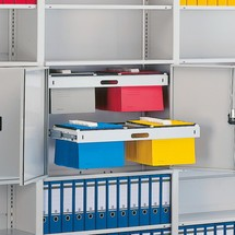 Pull-out hanging file frame for META filing shelf