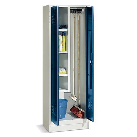 Putzmittelschrank mit Sockel + Drehriegelverschluss, Abteilbreite 300 mm