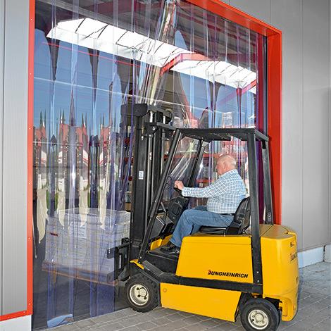 PVC-Streifenvorhang Außenbereich. Streifenbreite 400 mm. Überlappung 154 mm
