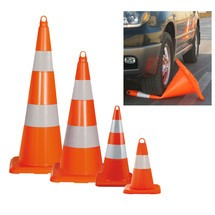 PVC traffic cone, can be driven over, retroreflective