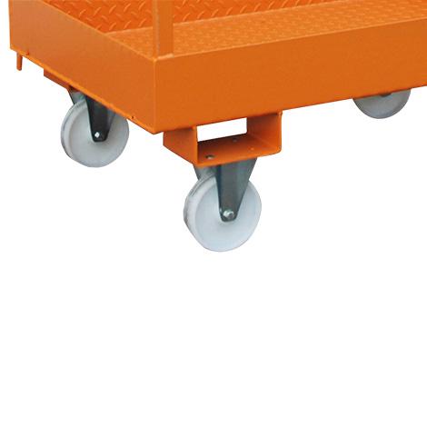 Radausstattung 2 Lenk- und 2 Bockrollen. Tragfähigkeit max. 1350 kg