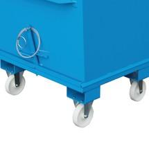 Radausstattung für Klappbodenbehälter HESON® mit Zugseilentriegelung