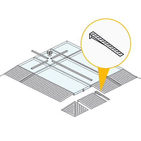 Rampenverbinder Flachwanne, BxT 100x850mm