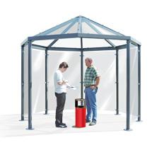 Raucher-Pavillion mit 6 oder 8 Ecken. Glaswände (ESG)