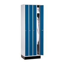 Raumspar-Garderobenschrank C+P, Drehriegelverschluss, 4 Abteile, HxBxT 1.950 x 620 x 500 mm