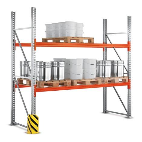 Rayonnage à palettes META MULTIPAL, travée de base, charge par travée jusqu'à 7200kg
