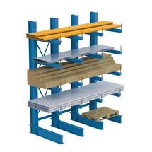 Rayonnage cantilever META pour charges lourdes, accessible d'un seul côté, capacité de charge max. par bras 630 kg