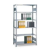 Rayonnage de bureau SCHULTE, travée de base, utilisable des deux côtés, avec butées centrales, charge par tablette 150 kg