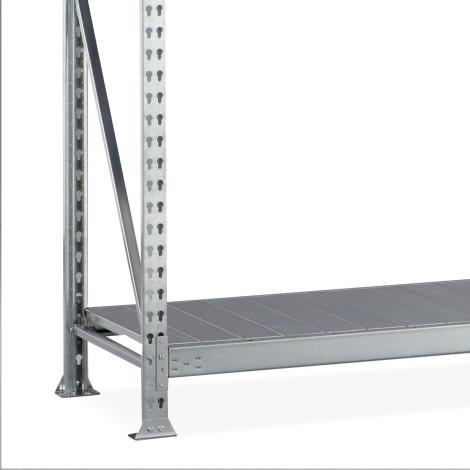 Rayonnage grande portée META, avec panneaux d'acier, charge par tablette 600 kg, travée auxiliaire