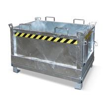 Recipiente de fundo rebatível, possibilidade de empilhamento de 3 unidades, galvanizado
