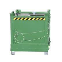 Recipiente de fundo rebatível, possibilidade de empilhamento de 3 unidades, pintado
