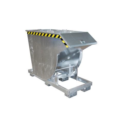 Recipiente de vuelco con mecanismo rodante Premium, forma constructiva honda, galvanizado, con tapa