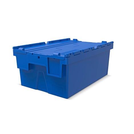 Recipiente reutilizável para empilhamento de polipropileno com tampa articulada