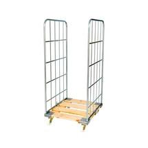 Recipiente rolante Classic, 2 lados, zincado galvanicamente, suporte em madeira com rodízios