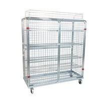 recipiente rolante de metal, 5 lados, cesto superior inclusive