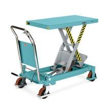 Ręczne wózki nożycowe Ameise z podnoszonym blatem roboczym. Udźwig od 500 do 750 kg.