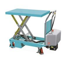 Ręczny wózek nożycowy Ameise z podnoszonym elektrycznie blatem roboczym. Udźwig 500 kg.