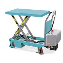 Ręczny wózek nożycowy Ameise® z podnoszonym elektrycznie blatem roboczym. Udźwig 500 kg.