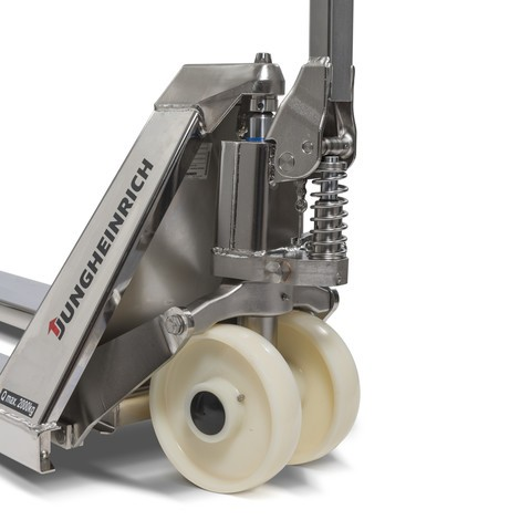 Ręczny wózek paletowy ze stali nierdzewnej Jungheinrich AM I20, specjalny rozstaw wideł 680 mm, długie widły