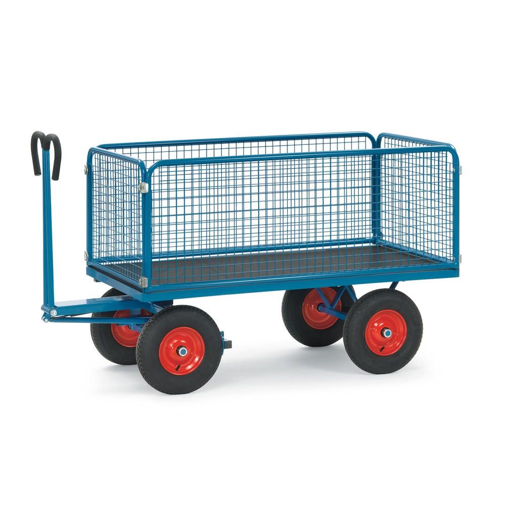 Ręczny wózek skrzyniowy fetra® ze ścianami z kraty drucianej.