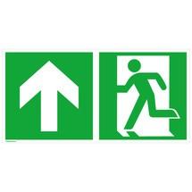 Reddingsbord – Nooduitgang links, pijl naar boven/rechtdoor