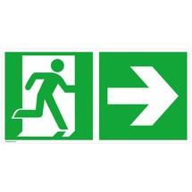 Reddingsbord – Nooduitgang rechts, pijl naar rechts
