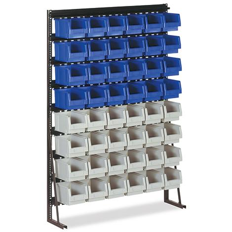 regal mit bis zu 108 sichtlagerk sten aus polypropylen. Black Bedroom Furniture Sets. Home Design Ideas