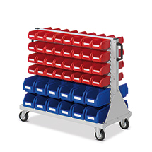 Regal mit Rollen und Sichtlagerkästen RasterPlan aus Polyethylen, doppelseitig