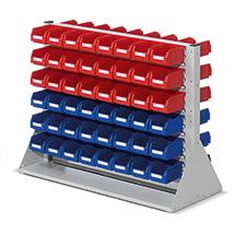 Regal mit Sichtlagerkästen RasterPlan aus Polyethylen, doppelseitig