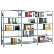 Regał na segregatory SCHULTE, moduł dodatkowy, dwustronny, bez środkowych ograniczników, obciążenie półki 150kg
