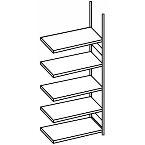 Regál na spisy META, přídavné pole, jednostranný, bez zakrývacího dna, nosnost 80 kg, světle šedý