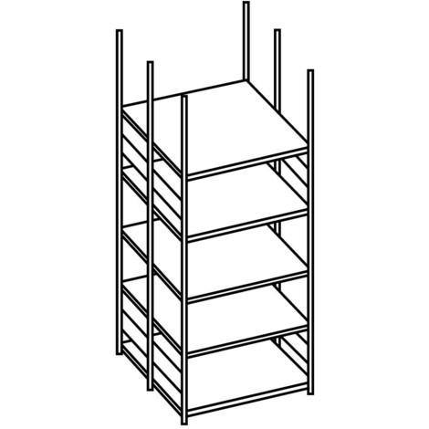 Regál na spisy META, základní pole, oboustranný, bez zakrývacího dna, nosnost 80 kg, světle šedý