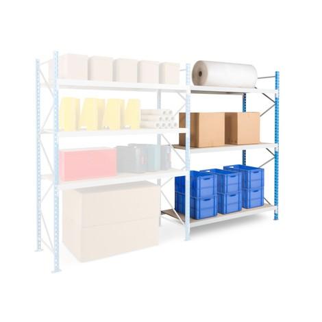 Regał odużej rozpiętości, zpłytami wiórowymi, moduł dodatkowy, błękitno-jasnoszary