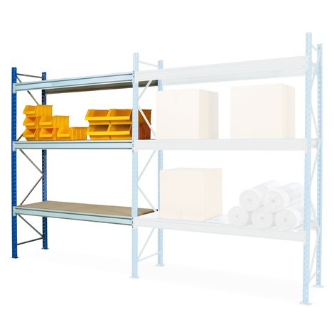Regał odużej rozpiętości, zpłytami wiórowymi, moduł dodatkowy, obciążenie półki do 980 kg