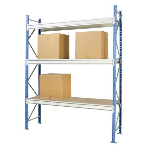 Regał odużej rozpiętości, zpłytami wiórowymi, moduł podstawowy, obciążenie półki do 980 kg