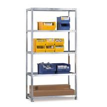 Regał półkowy META zsystemem śrubowym, moduł podstawowy, obciążenie półki 80 kg, jasnoszary