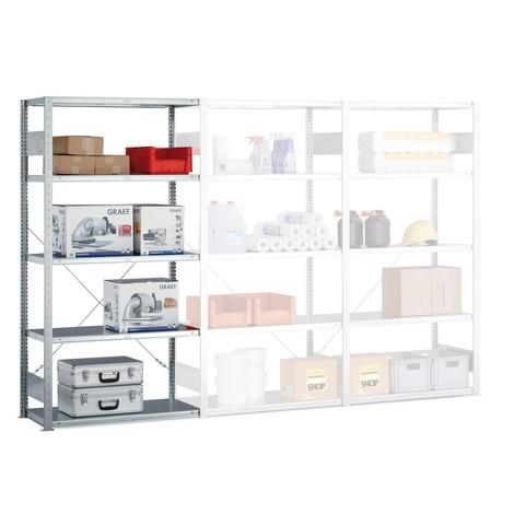 Regał półkowy META zsystemem wtykowym, moduł dodatkowy, obciążenie półki 100 kg, jasnoszary
