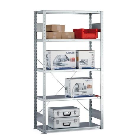 Regał półkowy META zsystemem wtykowym, moduł podstawowy, obciążenie półki 100 kg, jasnoszary