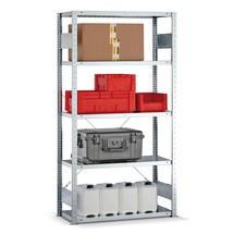 Regał półkowy META zsystemem wtykowym, moduł podstawowy, obciążenie półki 150 kg, ocynkowany