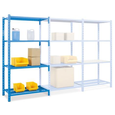 Regał półkowy, moduł dodatkowy, zpółkami rusztowymi, obciążenie półki do 500 kg