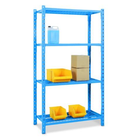 Regał półkowy, moduł podstawowy, zpółkami kratowymi, obciążenie półki do 500 kg