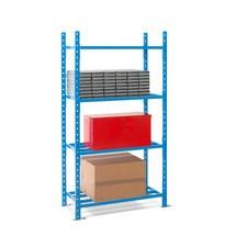 Regał półkowy, moduł podstawowy, zpółkami zrurek stalowych, obciążenie półki do 500 kg