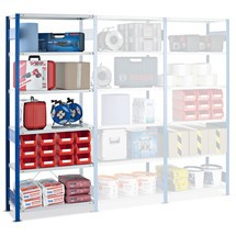 Regał półkowy SCHULTE, moduł dodatkowy, obciążenie półki 150 kg, niebieski gencjanowy/jasnoszary
