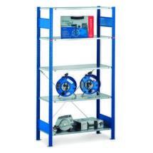 Regał półkowy SCHULTE zsystemem wtykowym, moduł podstawowy, obciążenie półki 150 kg, niebieski gencjanowy/ocynkowany