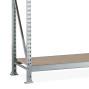 Regál s velkým rozpětím META, s dřevotřískovými deskami, nosnost regálu 600 kg, přídavné pole